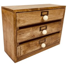 Solid Wood Three Drawer Desktop Organiser 28cm