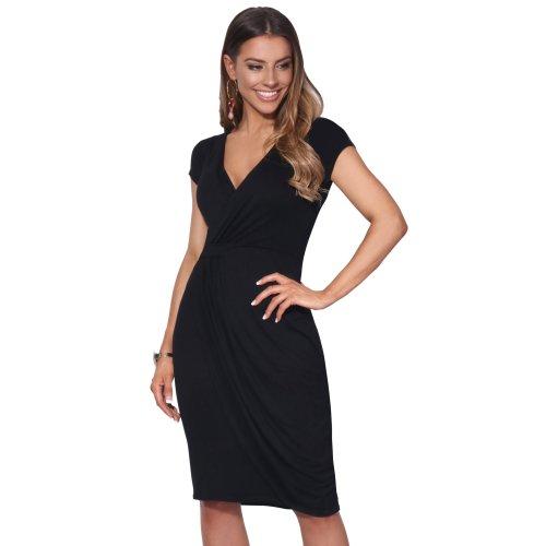 (Black, 8) Cap Sleeve Wrap Jersey Dress