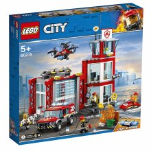 LEGO 60215 City Fire Station Garage Building Set with Truck Toy, Water Scooter, Drone and 3 Firefighter Minifigures, Fireman Toys for Kids