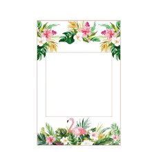 Trimming Shop Flower Leaves Printed Hawaiian Photo Booth Selfie Frame for Funny Photography, Hen Party, Wedding, Anniversary, Family Trip Accessory, 1