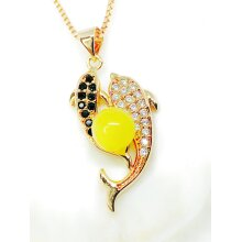 100% Natural Butterscotch Amber Double Dophines Pendant Rose Gold plated Necklace Chain included