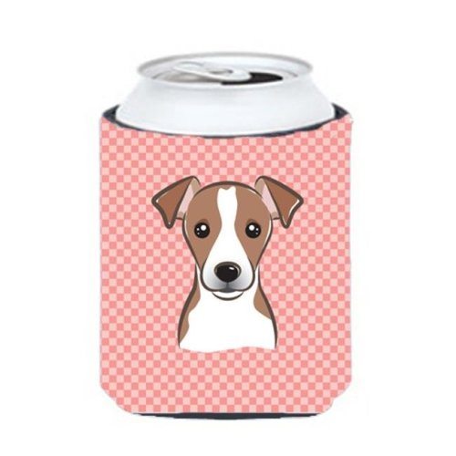 Checkerboard Pink Jack Russell Terrier Can Or Bottle Hugger, 12 Oz.