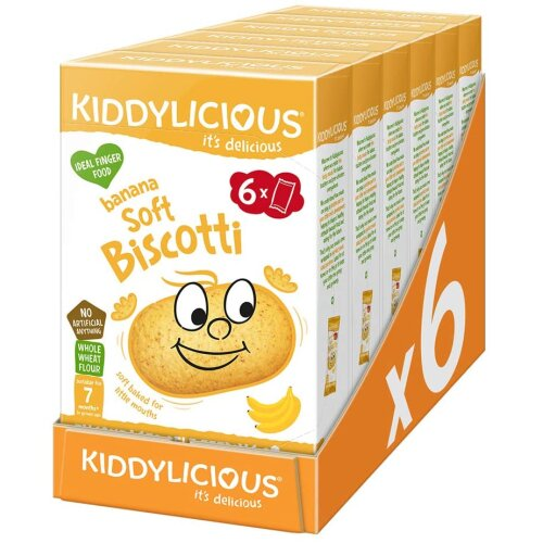 Kiddylicious Banana Biscotti | Yummy Baked Snacks for Kids | Suitable for 7+ Months | 6 Packs of 6 (36 Total), 1080240