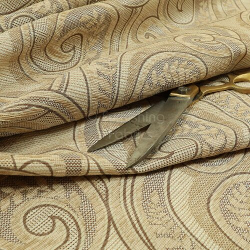 Quality Weight Beige Colour Chenille Upholstery Furnishing Fabric Floral Pattern - Sold By The 1 Metre Length Fabric Sold By Metre