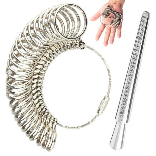 Size A-Z Metal Ring Sizer Mandrel Finger Measure Wedding Jewellery