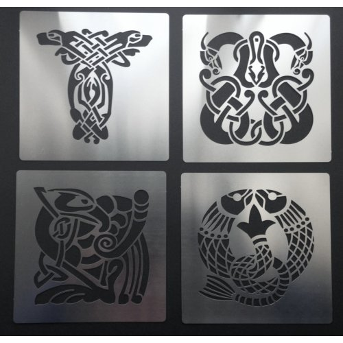 (Set of 4 (A,B,C,D)) Celtic Animal Knots Stainless Steel Crafting Stencil 7cm