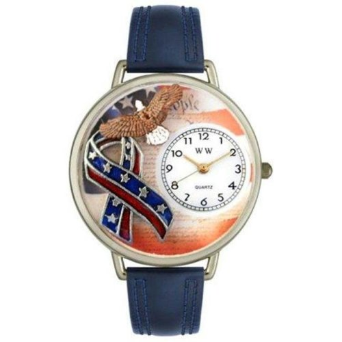 Whimsical Watches U-1220035 Whimsical Unisex American Patriotic Navy Blue Leather Watch