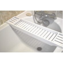 Unibos White Bamboo Wood Bath Tub Rack Bathroom Shelf Tidy Organiser