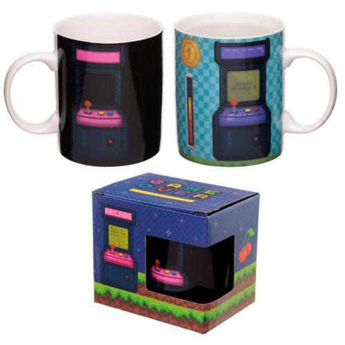 Heat Colour Changing Porcelain Mug - Retro Gaming Design