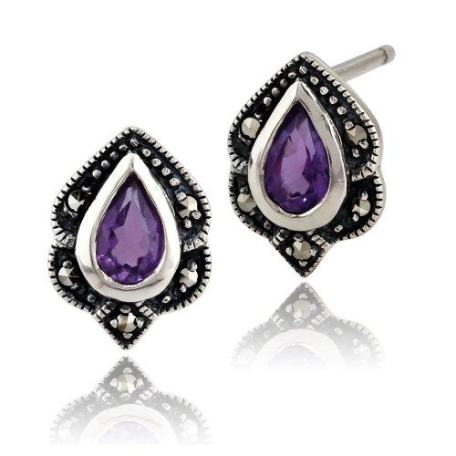 Art Nouveau Style Pear Amethyst & Marcasite Stud Earrings in 925 Sterling Silver