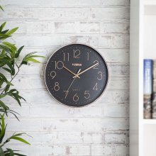 Tower T878500RB Rose Gold Wall Clock, Black, 30 cm