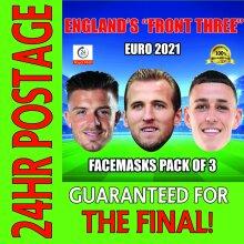 ENGLAND EURO 2021 CELEBRITY FACE MASK PACK GREALISH, KANE, FODEN