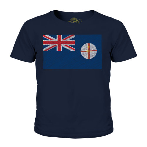 (Dark Navy, 3-4 Years) Candymix - New South Wales Scribble Flag - Unisex Kid's T-Shirt