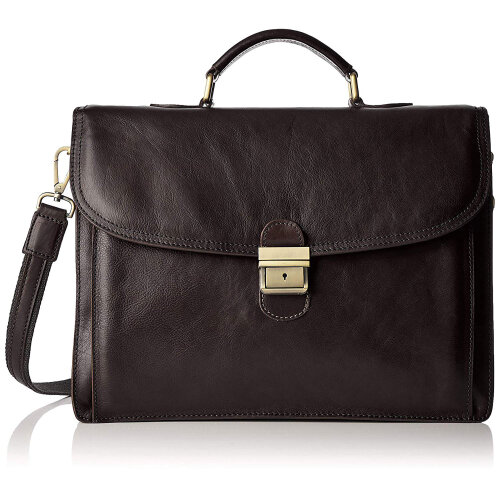 (Black) 43x31x10 cm - Leather Briefcase - Made in Italy