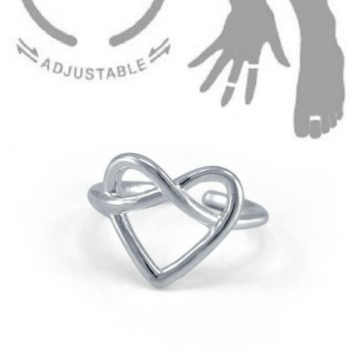 Heart Knot Shape White Gold Finish Pure 925 Silver Adjustable Toe Ring