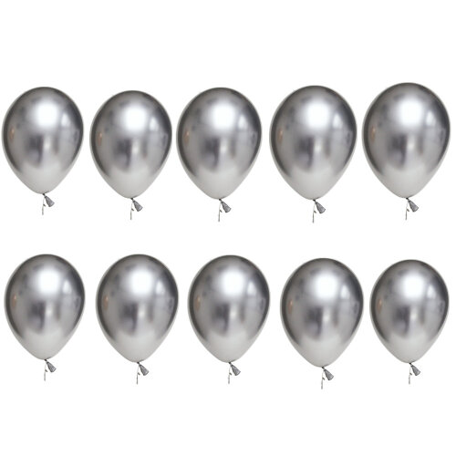 TRIXES Pack of 10 Metallic Latex Balloons 12inch Party Decoration Colour Silver