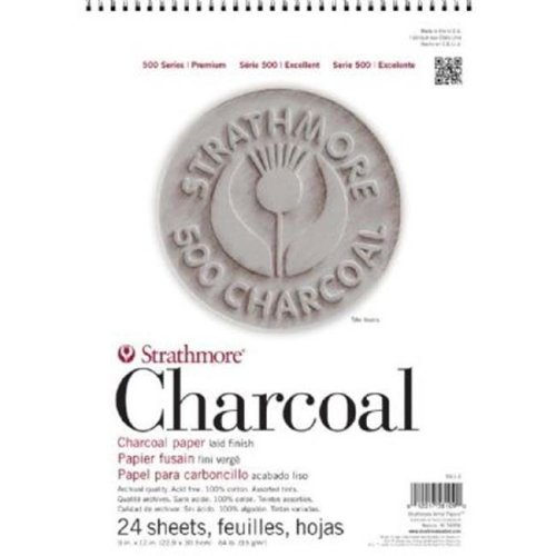 Strathmore ST561-1 500 Series 9'' x 12'' Assorted Tints Wire Bound Charcoal Pad