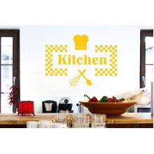 Checkered Kitchen Sign Wall Stickers Art Decals - Large (Height 57cm x Width 80cm) Dark Yellow