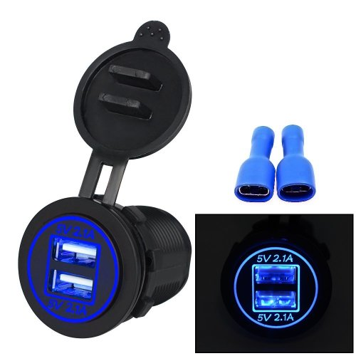 BlueFire Upgrade Dual USB 4.2A Socket Charger 12-24 Volt IP66 Waterproof Power Outlet for Car Boat Motorcycle Blue