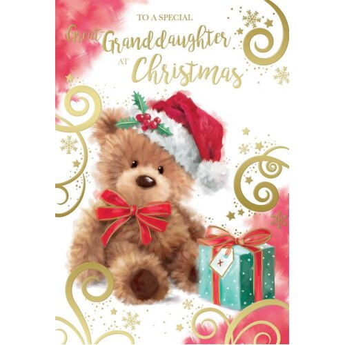 To A Special Great Granddaughter Cute Bear Design Christmas Card Lovely Verse
