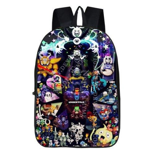 "(Black Purple) 17""Undertale Sans Papyrus Backpack School Travel Bag"