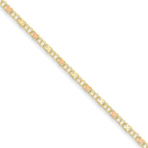 Quality Gold ANK69-10 3 mm x 10 in. 14K Yellow Gold & Rose Rhodium X & Hearts Anklet