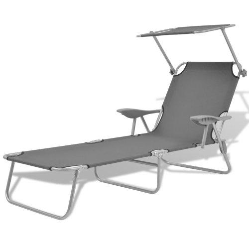 vidaXL Outdoor Sun Lounger with Canopy Patio Furniture Grey Steel 58x189x27 cm