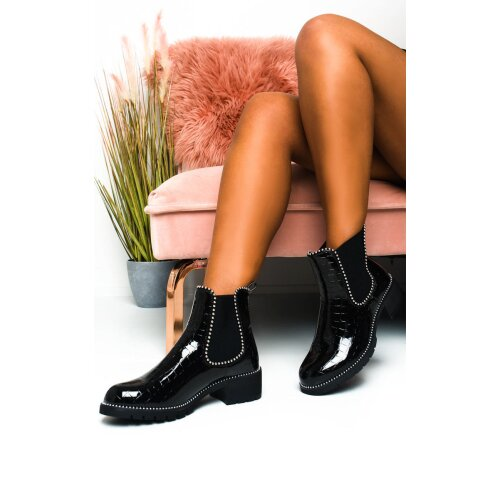 IKRUSH Womens Gemma Croc Print Patent Ankle Boots