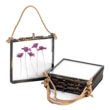 Hanging Photo Frame Vintage Glass Picture Square Display 4x4 Photos - Pack of 5