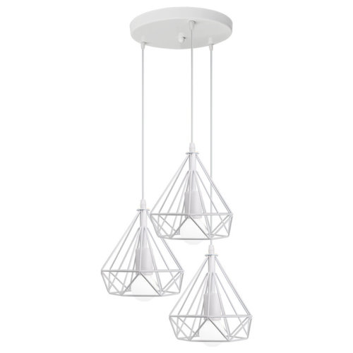 (White) 3 Light Ceiling Pendant Lamp Metal Wire Frame Lights