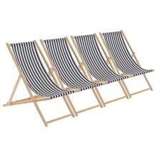 Wooden Deck Chair Folding Garden Beach Seaside Deckchair Black White Stripe x4