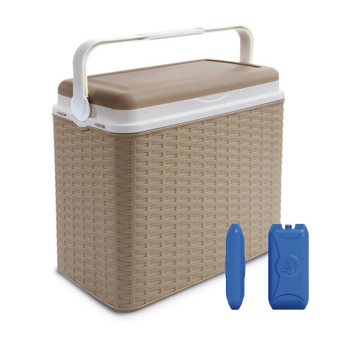 (Beige + 2 Ice Packs) 24 Litre Rattan Design Cooler Box Ice Pack Option