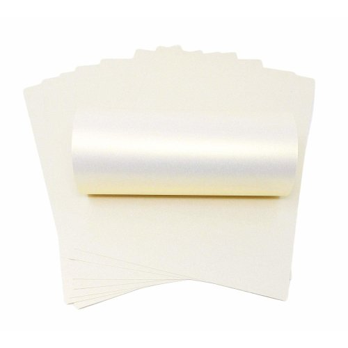 20 x A4 White With Gold Shimmer Pearlescent Shimmer Paper 120gsm Double Sided Suitable for Inkjet and Laser Printers