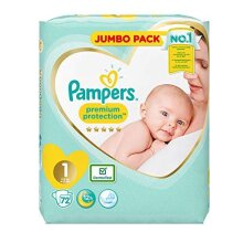 Pampers Premium Protection Softest Comfort Nappies Jumbo Pack Approved by British Skin Foundation Size 1 Pack of 2 (72 x 2)