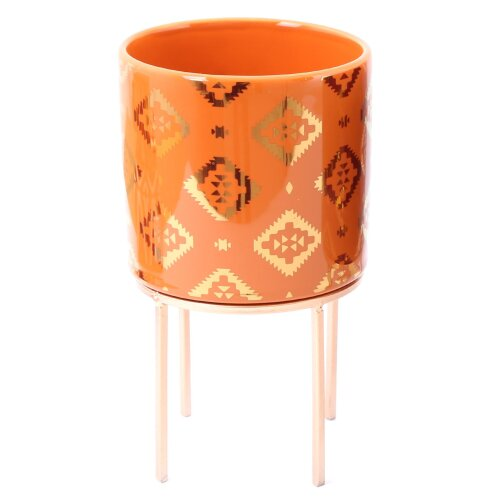 12cm Kasbah Planter Cache Pot | Indoor Ceramic Cache Plant Pot With Stand | Decorative Cachepot Planter - Orange