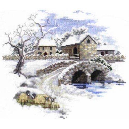 Winterbourne Farm Cross Stitch Kit Derwentwater Designs Winter Farm Bridge Sheep