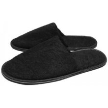 Black Towelling Closed Toe Slippers