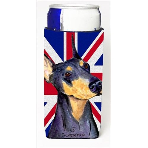 Doberman With English Union Jack British Flag Michelob Ultra bottle sleeves For Slim Cans - 12 Oz.