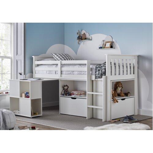 Mid Sleeper White Storage Bed Desk and Mattress