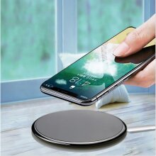 Wireless Charger Ultra Thin Mirror Charger Compatible with iPhone Samsung Android system -White