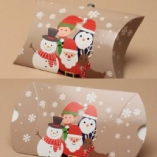 (Foursome, 6.8x6.8x2.5 cms) Christmas Gift Box Pillow Pack Bag Present Wrapping Gift Wrap