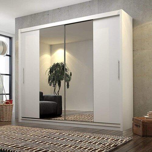 CHECO White Sliding Door Wardrobe With Optional LED Lights