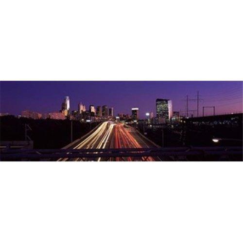 Light streaks of vehicles on highway at dusk  Philadelphia  Pennsylvania  USA Poster Print by  - 36 x 12