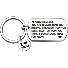 Always Remember You are Braver Than You Believe Keyring for Women Men