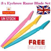 3 x Women Eyebrow Razor Trimmer Blade Removal Tool Shaver Face Lip Hair Remover Dermaplaning Painless Portable Facial Shaper