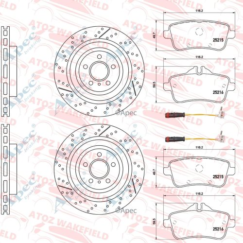 FOR MERCEDES BENZ GLE43 AMG REAR BRAKE DISCS MINTEX PADS WIRE SENSORS 345mm