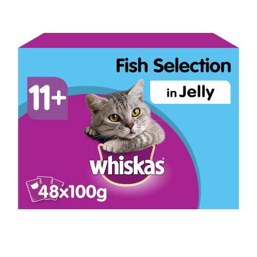 WHISKAS 11+ Cat Pouches Fish Selection In Jelly 12x100g (Pack of 4)