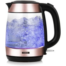 Tower T10040RG Rapid Boil Glass Kettle with LED 3000W, 1.7L Rose Gold