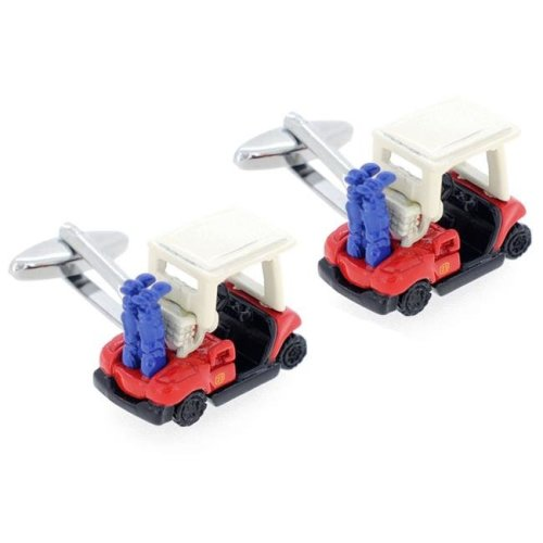 Fantasyard Golf Cart Cufflinks - Red & White - 0.984 x 0.708 in.