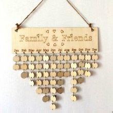 DIY Wooden Birthday Family&Friends Hanging Calendar Board Birthday Reminder UK
